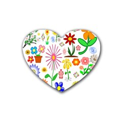 Summer Florals Drink Coasters 4 Pack (Heart)