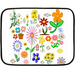 Summer Florals Mini Fleece Blanket (Two Sided)