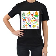 Summer Florals Women s T-shirt (Black)
