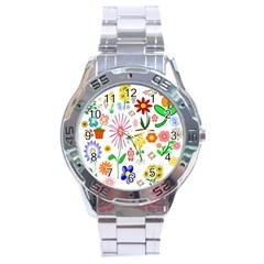 Summer Florals Stainless Steel Watch