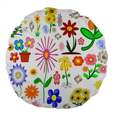 Summer Florals 18  Premium Round Cushion
