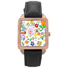 Summer Florals Rose Gold Leather Watch