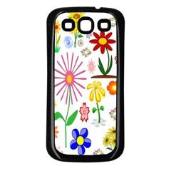 Summer Florals Samsung Galaxy S3 Back Case (black)