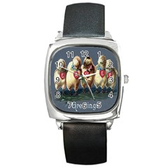 Victorian Easter  Square Leather Watch