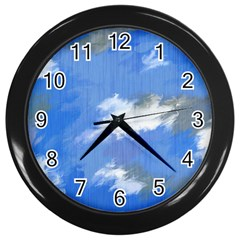 Abstract Clouds Wall Clock (Black)