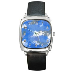 Abstract Clouds Square Leather Watch