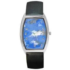 Abstract Clouds Tonneau Leather Watch