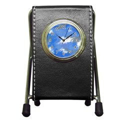 Abstract Clouds Stationery Holder Clock