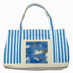 Abstract Clouds Blue Striped Tote Bag