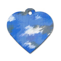Abstract Clouds Dog Tag Heart (Two Sided)