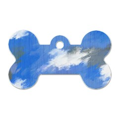 Abstract Clouds Dog Tag Bone (one Sided)