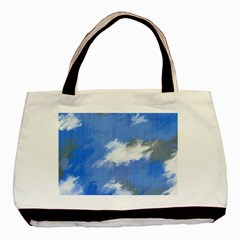 Abstract Clouds Twin Sided Black Tote Bag