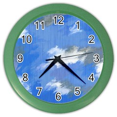 Abstract Clouds Wall Clock (color)