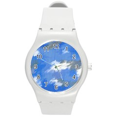 Abstract Clouds Plastic Sport Watch (Medium)