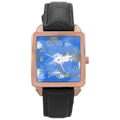 Abstract Clouds Rose Gold Leather Watch
