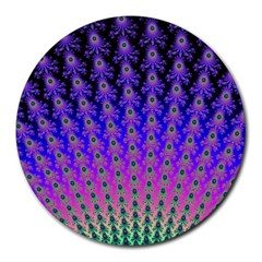 Rainbow Fan 8  Mouse Pad (Round)