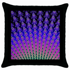 Rainbow Fan Black Throw Pillow Case