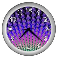 Rainbow Fan Wall Clock (Silver)