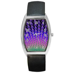 Rainbow Fan Tonneau Leather Watch