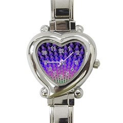 Rainbow Fan Heart Italian Charm Watch