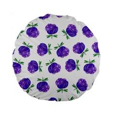 Purple Roses in Rows 15  Premium Round Cushion