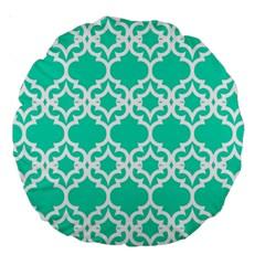 Lattice Stars In Teal 18  Premium Round Cushion