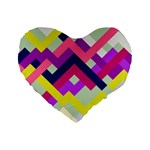 Pink & Yellow No. 1 16  Premium Heart Shape Cushion  Front
