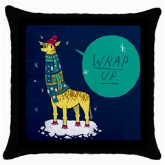 Wrap Up  Black Throw Pillow Case