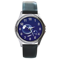 Bubbles 7 Round Leather Watch (silver Rim)