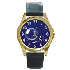 Bubbles 7 Round Leather Watch (Gold Rim)