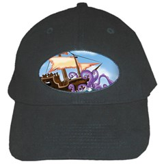 Pirate Ship Attacked By Giant Squid cartoon Black Baseball Cap