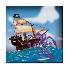 Pirate Ship Attacked By Giant Squid cartoon Ceramic Tile
