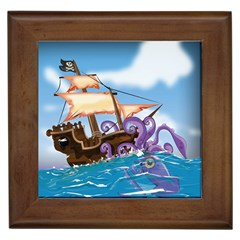 Pirate Ship Attacked By Giant Squid Cartoon Framed Ceramic Tile