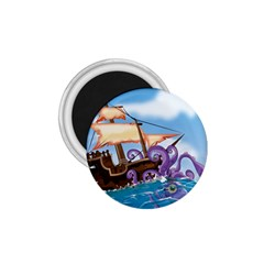 Pirate Ship Attacked By Giant Squid cartoon 1.75  Button Magnet
