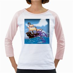 Pirate Ship Attacked By Giant Squid cartoon Women s Long Cap Sleeve T-Shirt (White)