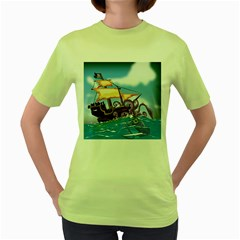 Pirate Ship Attacked By Giant Squid cartoon Women s T-shirt (Green)