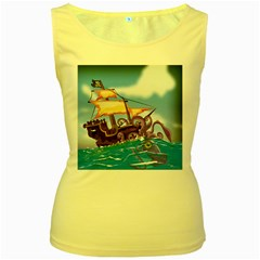 Pirate Ship Attacked By Giant Squid cartoon Women s Tank Top (Yellow)