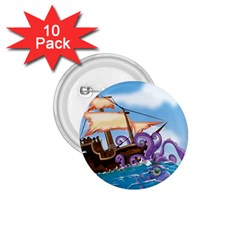Pirate Ship Attacked By Giant Squid cartoon 1.75  Button (10 pack)