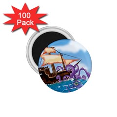 Pirate Ship Attacked By Giant Squid cartoon 1.75  Button Magnet (100 pack)