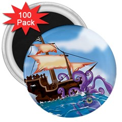 Pirate Ship Attacked By Giant Squid Cartoon 3  Button Magnet (100 Pack)