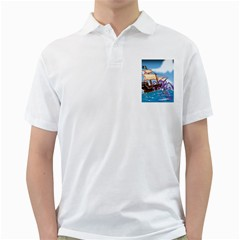 Pirate Ship Attacked By Giant Squid cartoon Men s Polo Shirt (White)