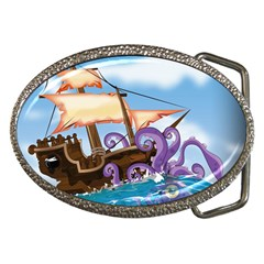 Pirate Ship Attacked By Giant Squid cartoon Belt Buckle (Oval)