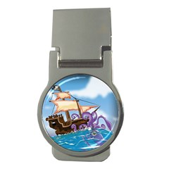 Pirate Ship Attacked By Giant Squid cartoon Money Clip (Round)