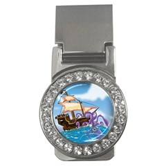 Pirate Ship Attacked By Giant Squid cartoon Money Clip (CZ)