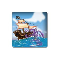Pirate Ship Attacked By Giant Squid cartoon Magnet (Square)