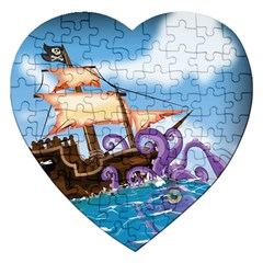 Pirate Ship Attacked By Giant Squid Cartoon Jigsaw Puzzle (heart)