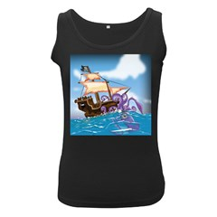 Pirate Ship Attacked By Giant Squid cartoon Women s Tank Top (Black)