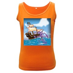 Pirate Ship Attacked By Giant Squid cartoon Women s Tank Top (Dark Colored)