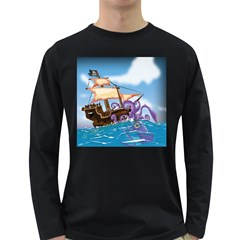 Pirate Ship Attacked By Giant Squid Cartoon Men s Long Sleeve T Shirt (dark Colored)