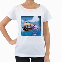 Pirate Ship Attacked By Giant Squid cartoon Women s Loose-Fit T-Shirt (White)